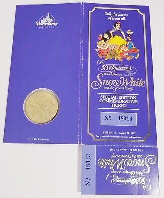 VINTAGE SNOW WHITE 1987 50th ANNIVERSARY COMMEMORATIVE MOVIE TICKET & COIN