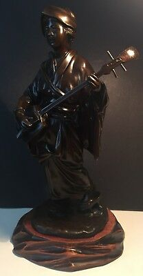 Antique Japanese Bronze Figure Of A Girl Musician With Signed, Meiji Period