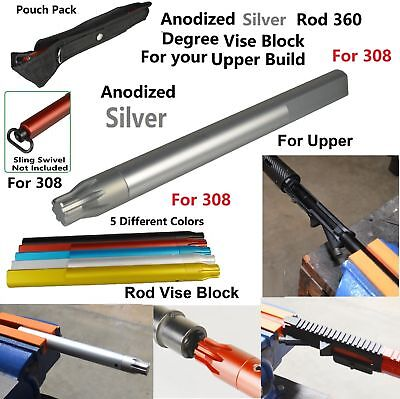 .308 Anodized Silver Rod 360 Degree Upper Vise Block Wrench Armorer/'s Tool Kit