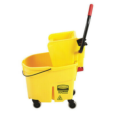 RUBBERMAID FG758088YEL 35qt. Yellow Side Press Mop Bucket and Wringer