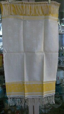 Vintage Fringed Linen Damask Towel Yellow Edge w Floral Design