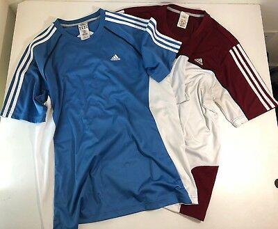 Mens Adidas Set Of 2 Large L Climacool Clima365 Athletic 3 Stripes SS T Shirt