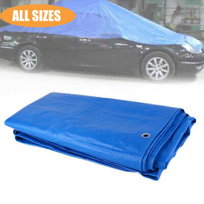 Heavy Duty Tarpaulin Waterproof Strong Camping Cover Ground Sheet Tarp w/ Eyelet