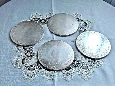 Wonderful Art Nouveau Pattern Silver Plated Placemats Strachan Set Of 4