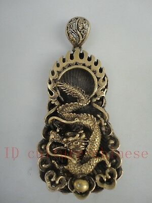Collected Old China Cooper hand-made Auspicious Dragon Pendant Amulet Decoration