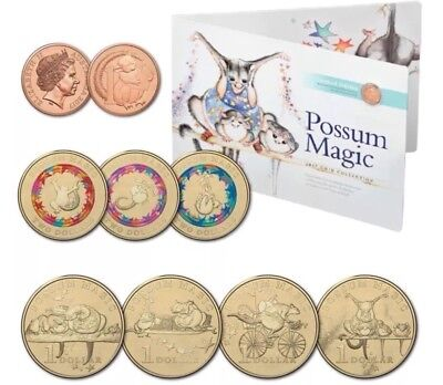 💰2017 POSSUM MAGIC SET OF UNCIRCULATED 3 x $2, 4 x $1 & 1c COINS (8) IN FOLDER