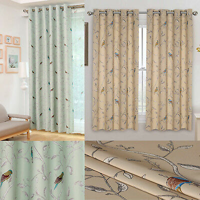 Bird Thermal Blackout Ready Made Eyelet Curtains - Dimout Energy Saving