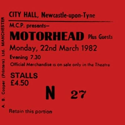 Motorhead Concert Coasters Concert ticket March 1982 High quality mdf coaster