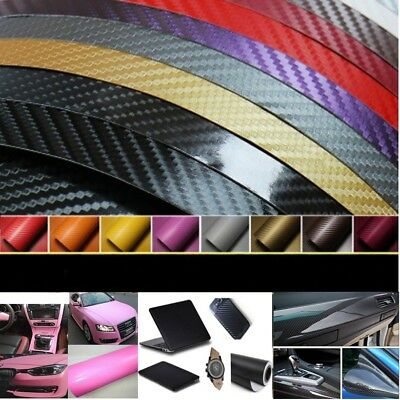 5D Premium HIGH GLOSS Carbon Fiber Vinyl Film Wrap Bubble Free Air Release Hot