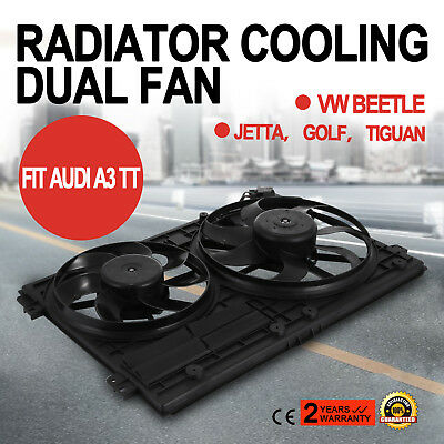Radiator Cooling Dual Fan Assembly fits Audi A3 TT VW Jetta Passat GTI Golf EOS