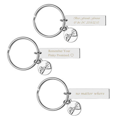 Text Engrave Keychain Ring Pinky Promise Charm Rectangle Keyring Friendship Gift