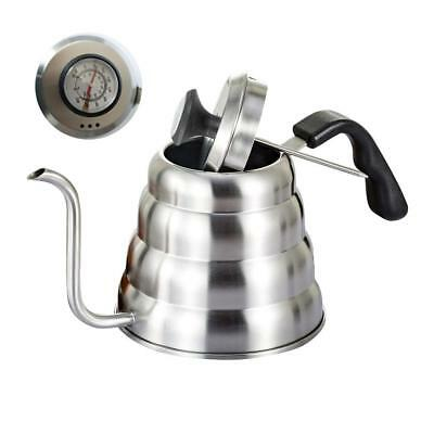1.2/1L Stainless Steel Pour Over Tea Coffee Kettle Hand Drip Pot w/ Thermometer