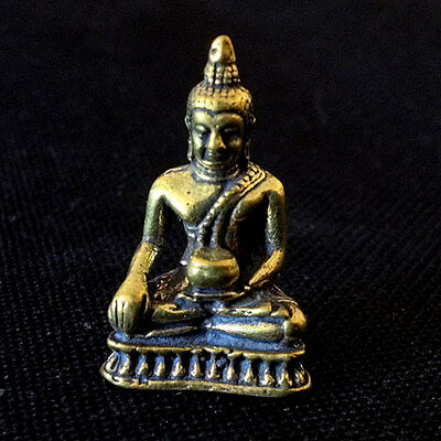Thai Amulet Buddha with Alms bowl Brass Statue Figurine Lucky Happy DBF