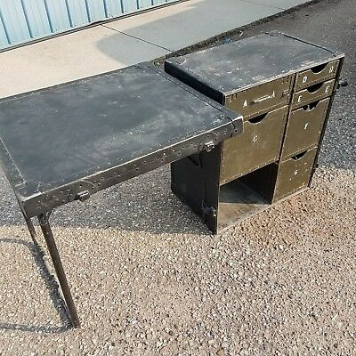 Antique Army Military Field Desk Collapsible Box w/Drawers & Table