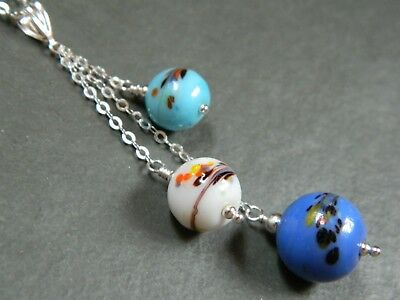 "Art Deco Murano ""End of Day"" Blue, White & Aqua Glass Beads, 925 Silver Necklace"