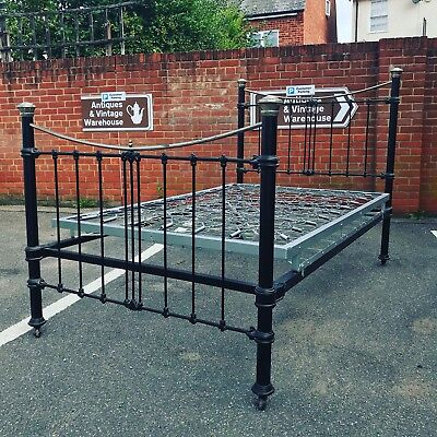 Victorian Cast Iron Double Bed.