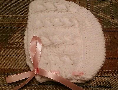 Knitted baby bonnet  hat, size 0-3   months, white  color ,for girl