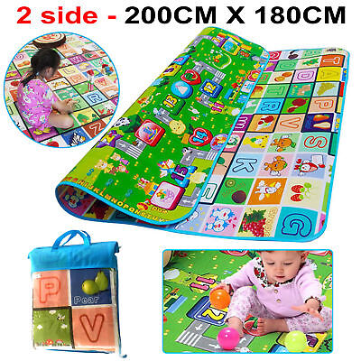 200X180Cm Double 2 Side Sided Kids Crawling Educational Play Mat Picnic Carpet