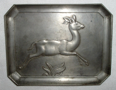 Reasonable 1940s Aesthetic Modernism Movement *paul Rudin Pewter Tray *artistant Sculpture Antiques