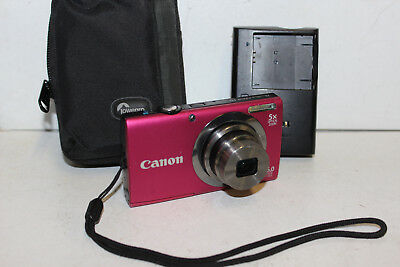 Canon PowerShot A2300 HD 16MP Digital Camera Pink PC1732 Charger&Case AO4008661