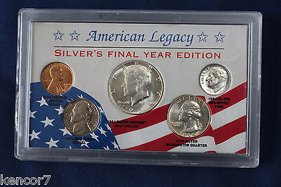1964 American Legacy Silver's Final Year Edition silver set of 5 coins E3567
