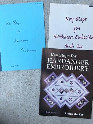 Key Steps for Hardanger Embroidery Pattern Books 1, 2, & 3 Lot Evelyn MacKay