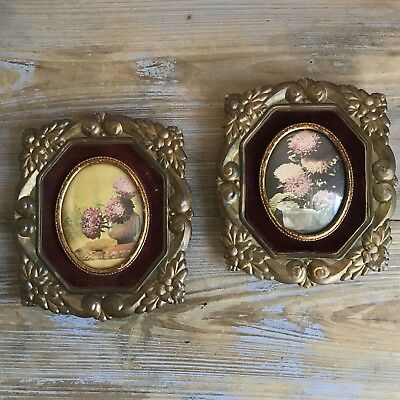 Vintage Antique Picture Frames Cameo Creation Flowers Set of Two Gorgeous
