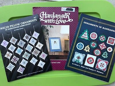 Hardanger Embroidery Christmas Pattern Book + Holiday Pillow Ornaments Angel