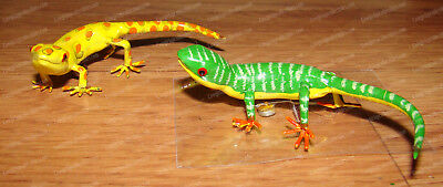 Gecko Style Lizard Magnets (Hand-Painted Metal) Movable (Green, Yellow, Orange)