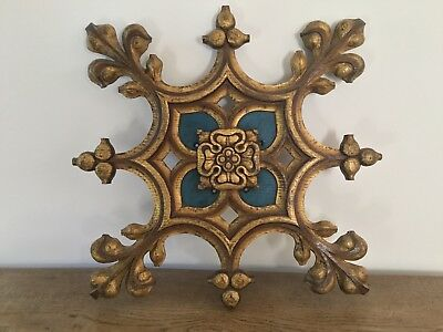 original gothic blue painted and gilded church oak carved panel very rare