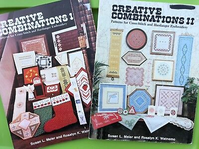 Hardanger Embroidery Creative Combinations I II Pattern Book Lot Doily Bull Pull