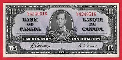✪ 1937 $10 Bank of Canada Note Gordon-Towers U/D Prefix 4249516 - AU/UNC Pressed