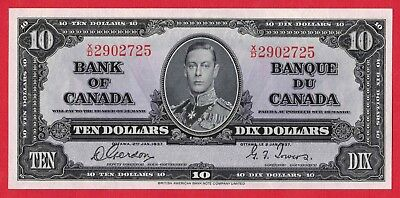 ✪ 1937 $10 Bank of Canada Note Gordon-Towers X/D Prefix 2902725 - UNC Pressed