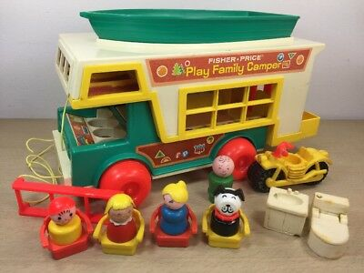 Fisher Price Play Family Camper 994 Wooden People Camping Boat Motorcycle Ladder