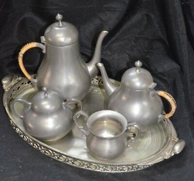 Vintage Royal Holland Pewter KMD Coffee & Tea Service Set w/ Tray // Empire
