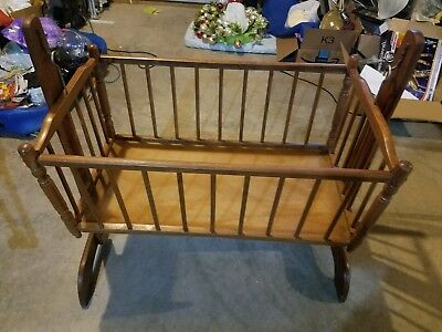 Antique Wooden Baby Bed Bassinet Crib