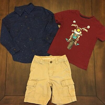 Old Navy, Crazy 8 Boy 3T Lot Button Down Shirts & Shorts, Gingham, Chambray F15