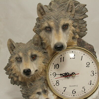 Wolf Family Statue Figurine Clock - Montefiori Collection - wolves, wildlife