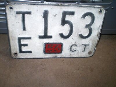 1956 Connecticut License Plate Te-153 Hot Rods Patina