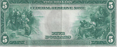 BEAUTIFUL  Series 1914 $5 Federal Reserve Note  XF/AU (Fr-870)