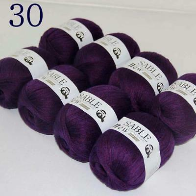 Sale 8 Skeins Super Pure Sable Cashmere Scarves Hand Knit Wool Crochet Yarn 30