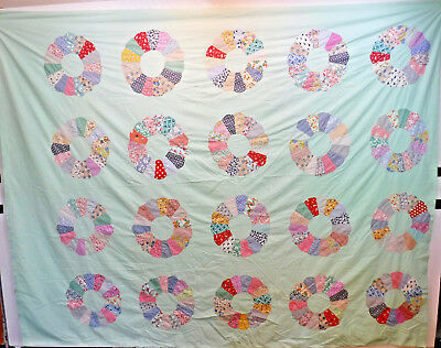 "Vintage Dresden Pattern Feed Sack / Multi Colored Incomplete 81"" x 108"""