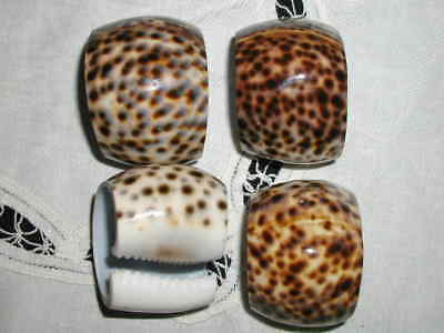 4 x Vintage Natural Tiger Cowrie Shell Napkin Rings