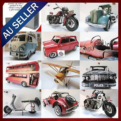 Home Decor Display Antique Vintage Tin Metal Car Model Handmade Fathers Day Gift