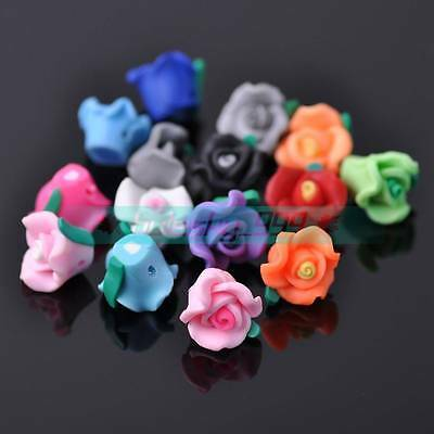 30pcs 11~13mm Flower Polymer Clay Loose Spacer Beads Random Mixed