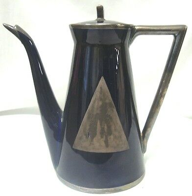 Lenox Cobalt Blue Sterling Silver Overlay Tea Coffee Pot Deco Triangle 1896-1906