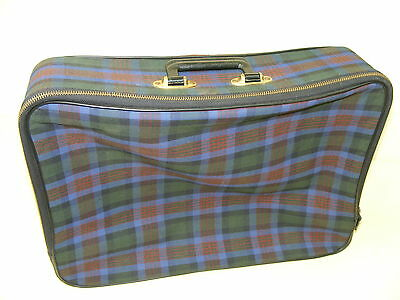 Beautiful Old Fabric Check Travel Suitcase Vintage Design Retro Iconic