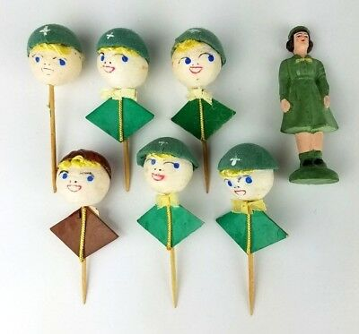 Vintage Cotton Spun girl scout toothpick Toppers Cupcake Mid Century Japan
