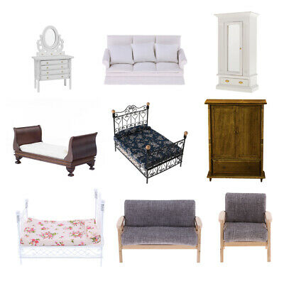 1/12 Dollhouse Miniature Furniture Set Sofa Couch Bed Wardrobe Room Decoration