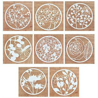 AU 8pcs Craft Embossing Template Layering Stencils Scrapbooking Wall Painting